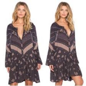 Free People From Your Heart Printed Mini Dress